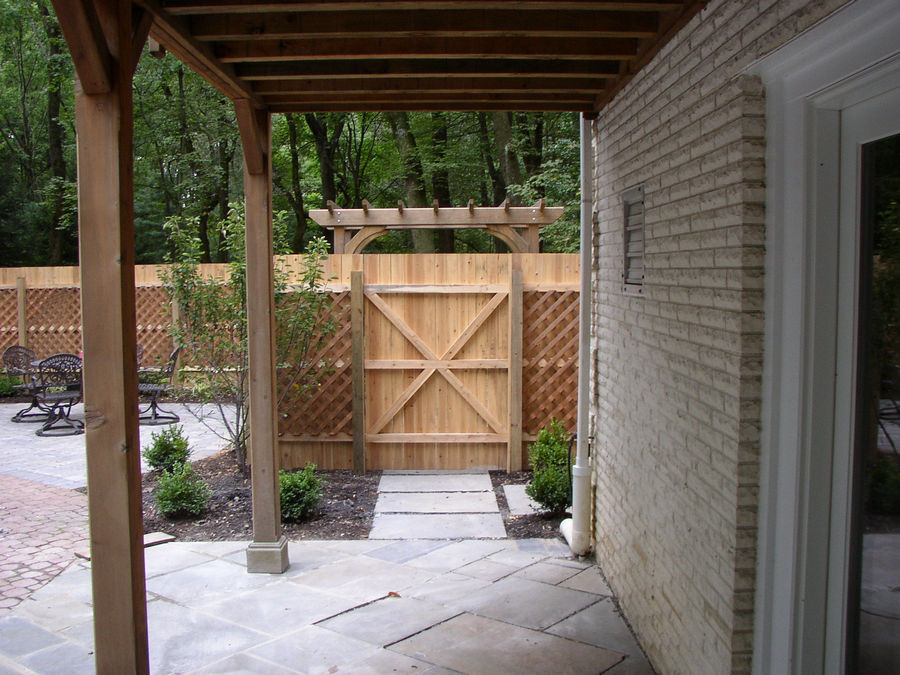 Pool area entrance  – custom fence – Harding – NJ